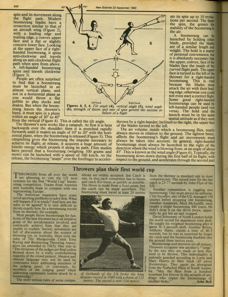 Jacques Thomas Boomerang Article featuring Al Gerhards